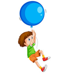 Happy boy with blue balloon vector