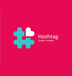 Hashtag symbol heart logo icon design template vector