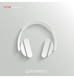 Headphones icon - white app button vector image