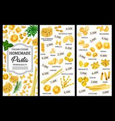 Italian pasta food menu spaghetti and macaroni vector