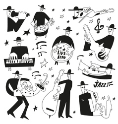 Jazz musicians - doodles set vector