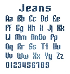Jeans alphabet letters number vector