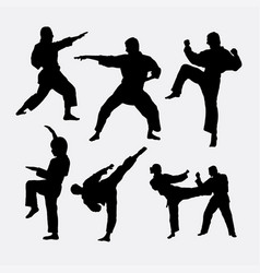 Karate martial art fighter sport silhouette vector