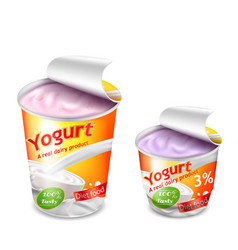 Large and small plastic cup for yogurt vector