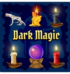 Magic objects on a dark blue background vector image