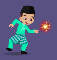 Malay boy celebrating hari raya aidilfitri vector