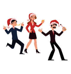 Mans woman in santa hats having fun at christmas vector