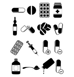 medicine pills icons set vector image