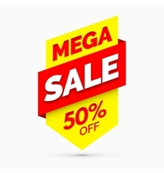 Mega sale banner Yellow and red colors vector