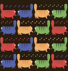 multicolored thick cats stroll vector image vector image