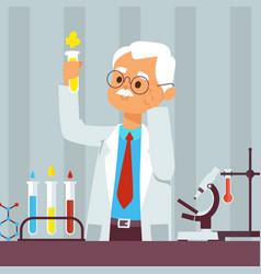 Old man scientist in lab vector