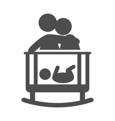 Parents put to sleep the baby pictogram flat icon vector