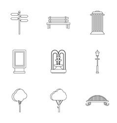 Park icons set outline style vector image