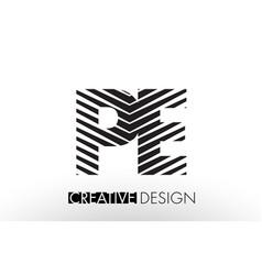 Pe p e lines letter design with creative elegant vector