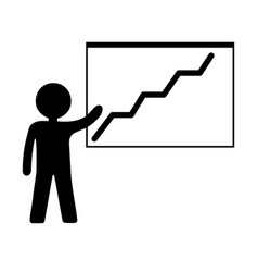 person with growing chart icon business vector image
