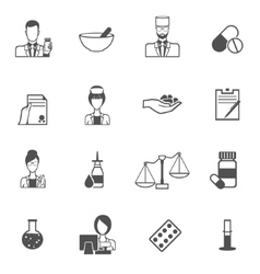 Pharmacist icon black set vector image