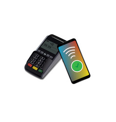 pos terminal with smartphone contactless vector image