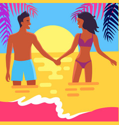 poster of happy couple standing in sea at sunset vector image