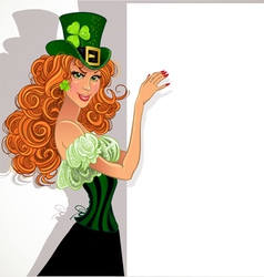 Pretty slim red-haired girl Leprechaun hold banner vector