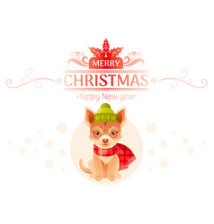 Puppy chihuahua dog merry christmas happy new year vector