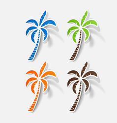 Realistic paper sticker palm vector