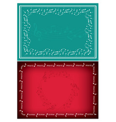 red and green backgrounds with music decorations vector image