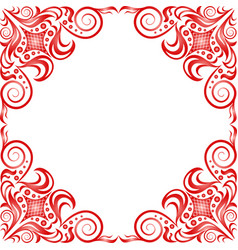 Red beautiful frame in classic style on white back vector