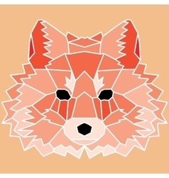 Red low poly lined fox vector