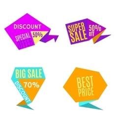 Sale Discount Origami Labels vector image