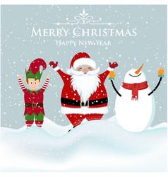santa elf and snowman christmas card vector image