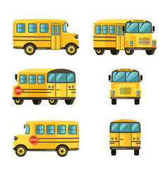 School bus from different angles yellow vehicle vector