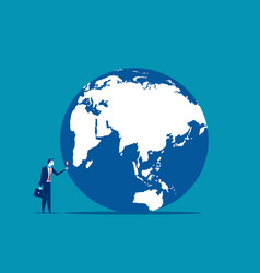 Searching a businessman looking globe vector