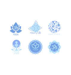 set monochrome emblems for yoga studio vector image