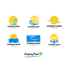 set of beach logo design vector image