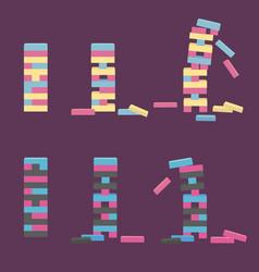 Set of jenga wooden block game vector