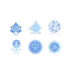 set of monochrome emblems for yoga studio vector image
