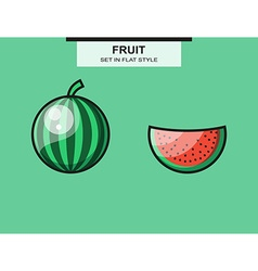 Set of whole and sliced watermelon pieces vector