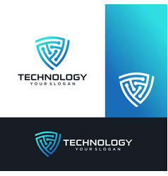 shield technology logo icon stock vector image