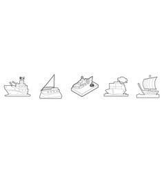 ship icon set outline style vector image
