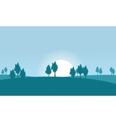 Silhouette of hill and tree scenery vector image