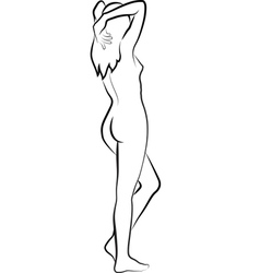 Sketch a naked woman vector