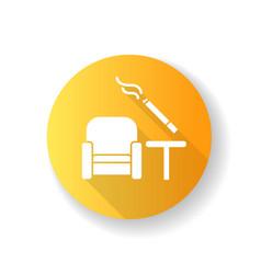 Smoking area yellow flat design long shadow glyph vector