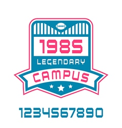 Sport numbers and campus emblem vector