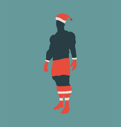 sporty man in santa claus clothing costume vector image