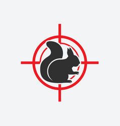 squirrel silhouette animal pest icon red target vector image