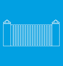 Stone fence icon outline style vector