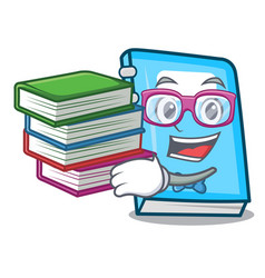 Student with book education mascot cartoon style vector