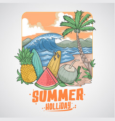 summer beach fruits and coconut tree vector image