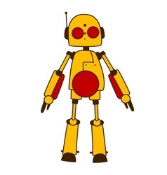 Toy robot or alien in bright yellow vector image