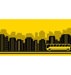 Transport background with town and bus vector